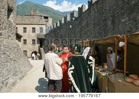 Bellinzona, Switzerland - 29 May 2004: People at the market during the annual medieval Festival