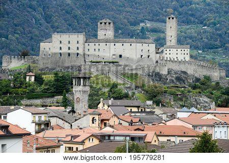 The Fort Of Castelgrande At Bellinzona On The Swiss Alps
