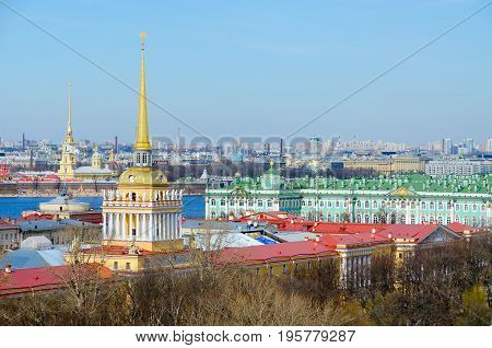 View from colonnade of St. Isaac's Cathedral on historical center of St. Petersburg (Admiralty building Hermitage) Russia