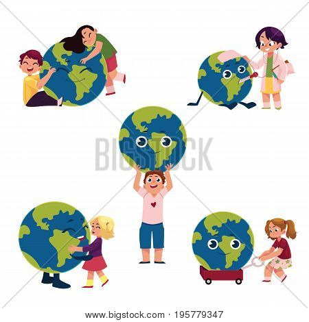 Kids, boys and girls, hugging, holding, playing with the Globe, Earth planet, cartoon vector illustration isolated on white background. Kids, children and the Globe, Save the Earth concept