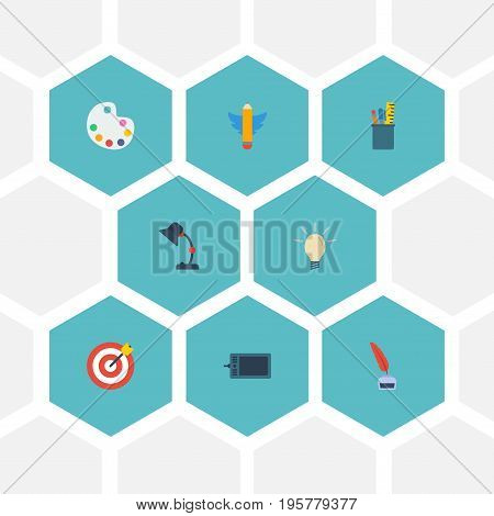Flat Icons Pencil, Illuminator, Wings And Other Vector Elements