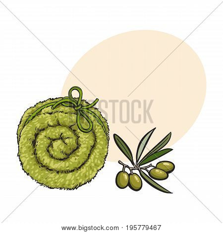 Top view of rolled up fluffy green towel, spa salon accessory, cartoon vector illustration with space for text. Realistic hand drawing of towel roll, spa salon accessory