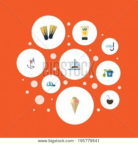 Flat Icons Cocos, Fly, Sailboard And Other Vector Elements
