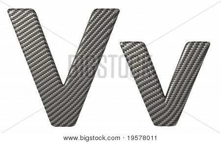 Carbon Fiber Font V Lowercase And Capital Letters