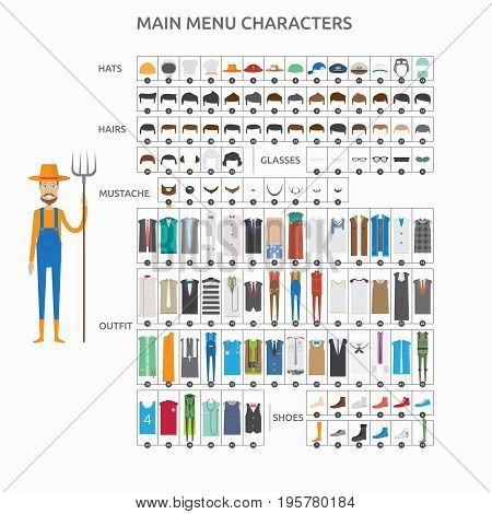 Character Creation Farmer   set of vector character illustration use for human, profession, business, marketing and much more.The set can be used for several purposes like: websites, print templates, presentation templates, and promotional materials.