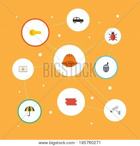 Flat Icons Clue, Hardhat, Parasol And Other Vector Elements