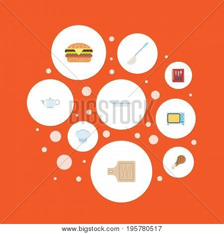 Flat Icons Electric Stove, Chef Hat, Fried Poultry And Other Vector Elements