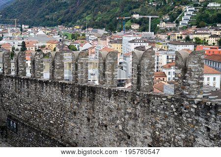Bellinzona, Switzerland - 3 August 2015: The walls of fort Castelgrande at Bellinzona on the Swiss alps Unesco world heritage