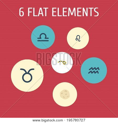 Flat Icons Horoscope, Comet, Water Bearer And Other Vector Elements