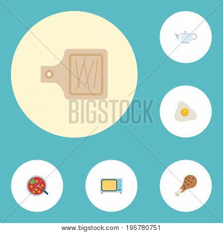 Flat Icons Teapot, Electric Stove, Fried Poultry And Other Vector Elements