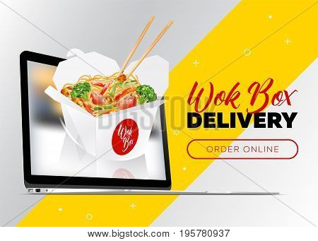 Creative Vector Concept of Food Delivery Banner. Order Wok Box Online. Asian Noodle Box Appear from Laptop. Fast Food Banner for Chinese Restaurant Delivery Service.