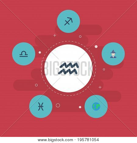 Flat Icons Archer, Fishes, Water Bearer And Other Vector Elements