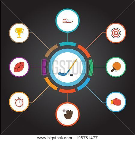 Flat Icons Table Tennis, Glove, Boxing And Other Vector Elements