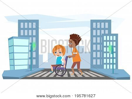 The boy drives the girl in a wheelchair, helps cross the road.