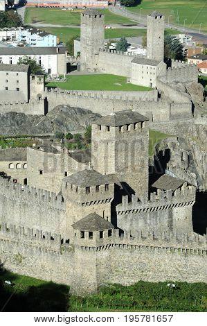Bellinzona, Switzerland - 3 August 2015: Castles of Castelgrande and Montebello at Bellinzona on the italian part of Switzerland