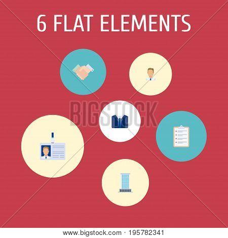 Flat Icons Handshake, Employee, Costume Vector Elements