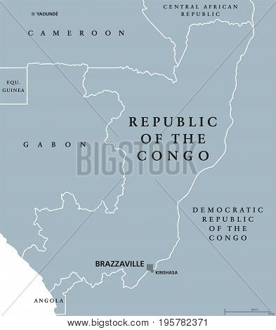 Republic of the Congo political map with capital Brazzaville. Also Congo Republic, West Congo or Congo-Brazzaville. Country in Central Africa. Gray illustration over white. English labeling. Vector.