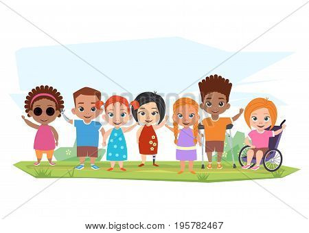 Children of different disabilities and healthy children posing, greeting and waving their hands