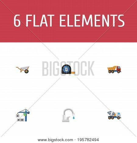 Flat Icons Roll Meter, Handcart, Hoisting Machine Vector Elements
