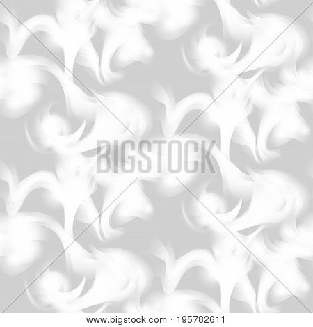 Cigarette smoke trail seamless pattern. Grey and white fumes background. Smog dense flow.