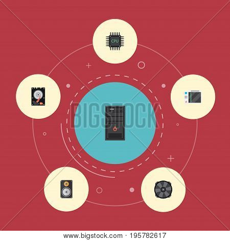 Flat Icons Amplifier, Microprocessor, System Unit And Other Vector Elements