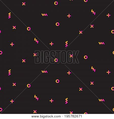 Gradient geometric shapes dark seamless vector pattern. Pink and yellow simple shapes background for website wallpaper and banner ad.