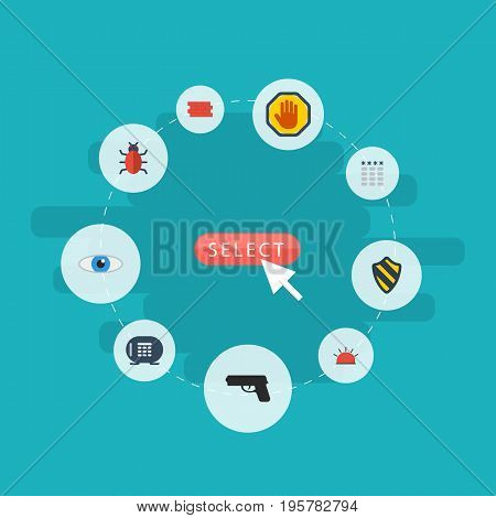 Flat Icons Vision, Virus, Gun And Other Vector Elements