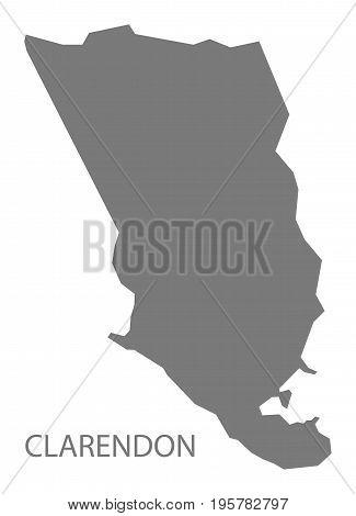 Clarendon Jamaica Region Map Grey Illustration Silhouette Shape