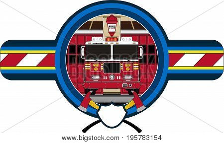 Cartoon Firefighters Truck Badge with Crossed Axes
