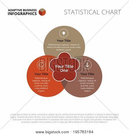 Venn imitation diagram. Element of presentation, chart, graph. Creative concept for infographics, templates, reports. Can be used for topics like business strategy, marketing analysis, management