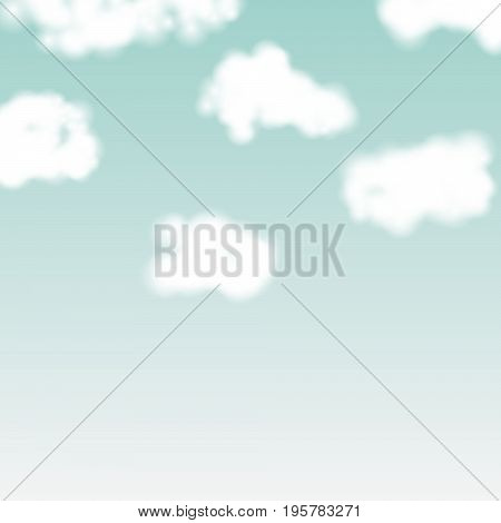 Vector realistic clouds on blue sky backdrop. Fluffy soft background.