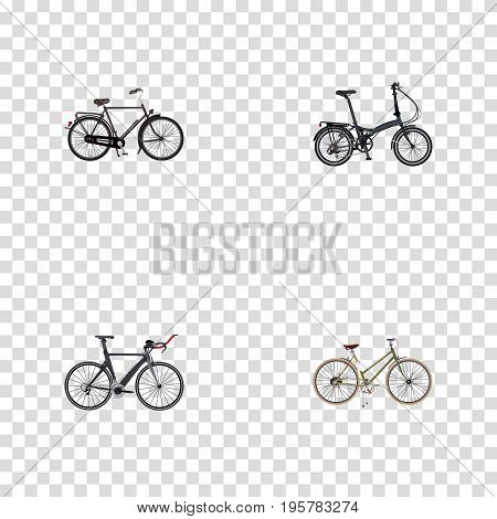 Realistic Training Vehicle, For Girl, Competition Bicycle And Other Vector Elements