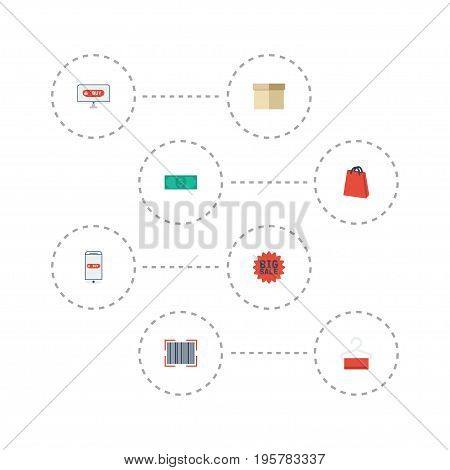 Flat Icons Qr, Purchase, Big Sale And Other Vector Elements