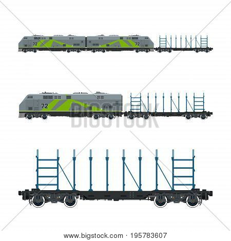 Green Locomotive with Railway Platform for Timber Transportation Or other Cargoes, Train, Railway and Cargo Transport, Vector Illustration
