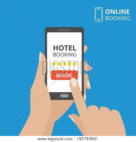 Design concept of hotel booking online. Hand holding smartphone with book button on screen. Mobile application for renting accommodations.