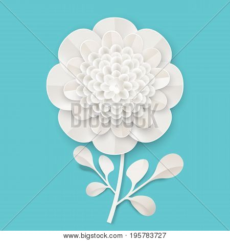 Lush peony on small stem with leaves made of white paper sheet isolated vector illustration on blue background. Painstaking origami work on flower theme.