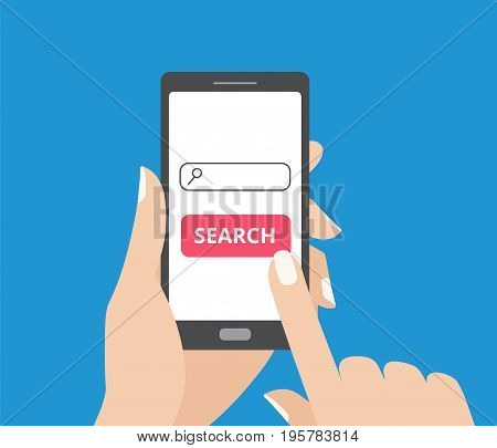 Hand holding smartphone and touching the screen with search bar and search button. Mobile search flat design concept.