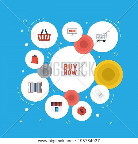 Flat Icons Qr, Shopping, Percentage And Other Vector Elements