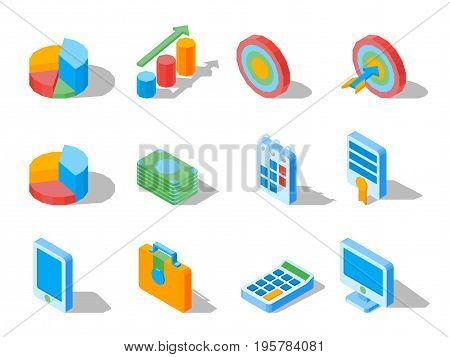 Business elements for web design in three dimensional vector illustrations. Set of isometric icons for web design isolated on white background