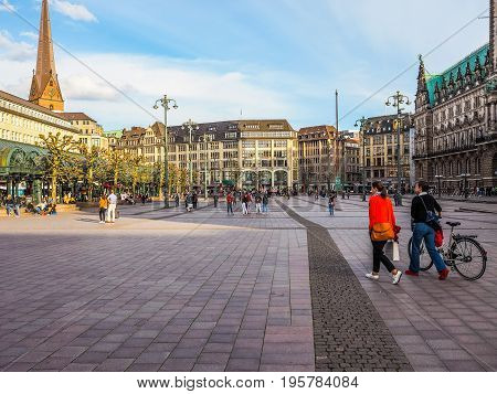 Rathausmarkt Square In Hamburg Hdr