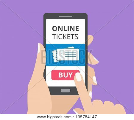 Hand holding smartphone with buy button and tickets icon on screen. Concept of online tickets mobile application. Flat design vector illustration