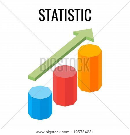 Statistic growing chart with arrow going up three dimensional vector illustration isolated on white. Can be used as element in creating infographic image