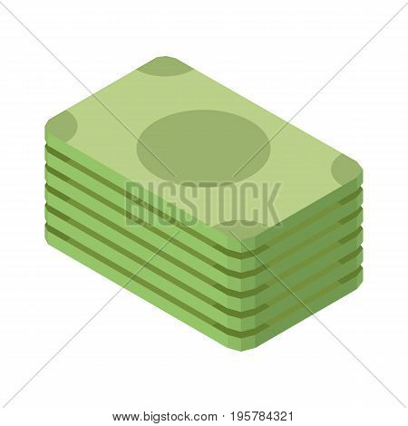 Pile of green dollar banknotes isolated on white three dimensional vector illustration in graphic design. Money cash for financial operations in 3D