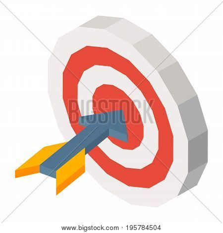 Sharp grey missile with yellow wings in round dartboard 3D vector illustration. Business success template poster in graphic design.