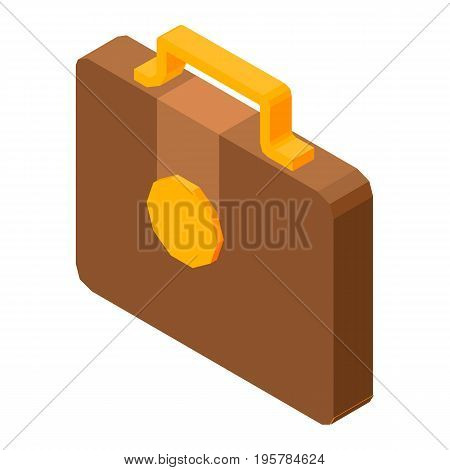 Brown briefcase for business purposes isolated on white three dimensional colorful illustration in graphic design. Closeup case with handle and button