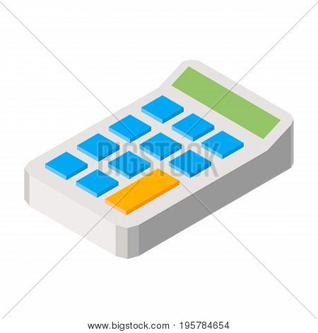 Calculator three dimensional vector illustraition icon isolated on white background. 3D caculating machine for counting with buttons