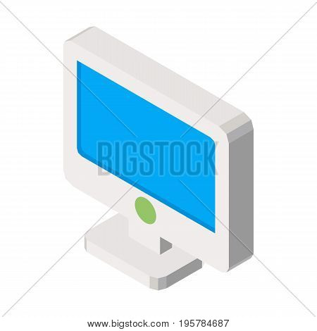 Computer screen isolated on white three dimensional concept vector illustration in graphic design. Monitor in blue color with small round button.