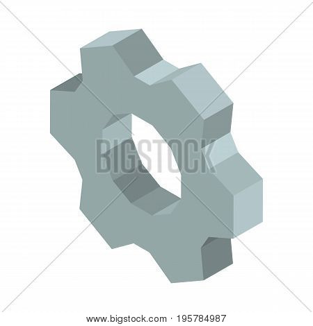 Metal gear 3D business icon vector illustration isolated on white. Mechanical mechanism made of steel, cogwheel sign, symbol of progress