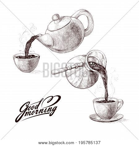 Vector sketch illustration of fresh brewed hot and flavored morning coffee from turks and tea from teapot poured into cup. Drink with splashes and steam pouring into bowl. Imitation vintage engraving