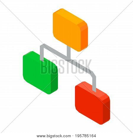 Hierarchy network 3D icon vector illustration isolated on white. Structure of organized elements, levels of chain rows, concept of work organization